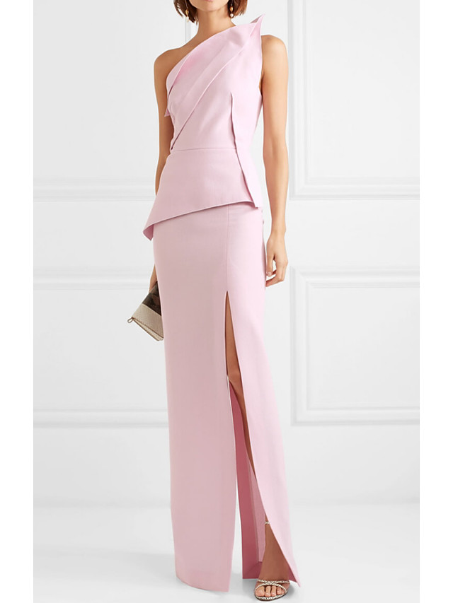 Sheath / Column Peplum Wedding Guest Formal Evening Dress One Shoulder Sleeveless Floor Length Polyester with Split 2020