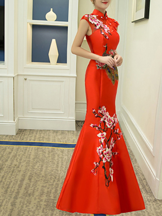 Mermaid / Trumpet Chinese Style Red Wedding Guest Formal Evening Dress High Neck Sleeveless Floor Length Polyester with Embroidery Appliques 2020