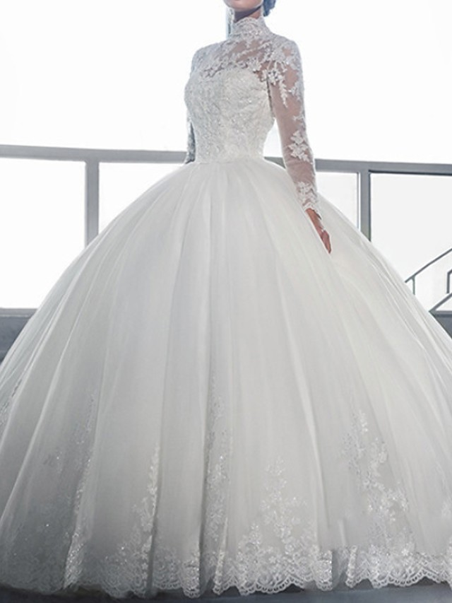 Ball Gown Wedding Dresses High Neck Sweep / Brush Train Lace Long Sleeve Formal Illusion Sleeve with Lace Insert Embroidery 2020