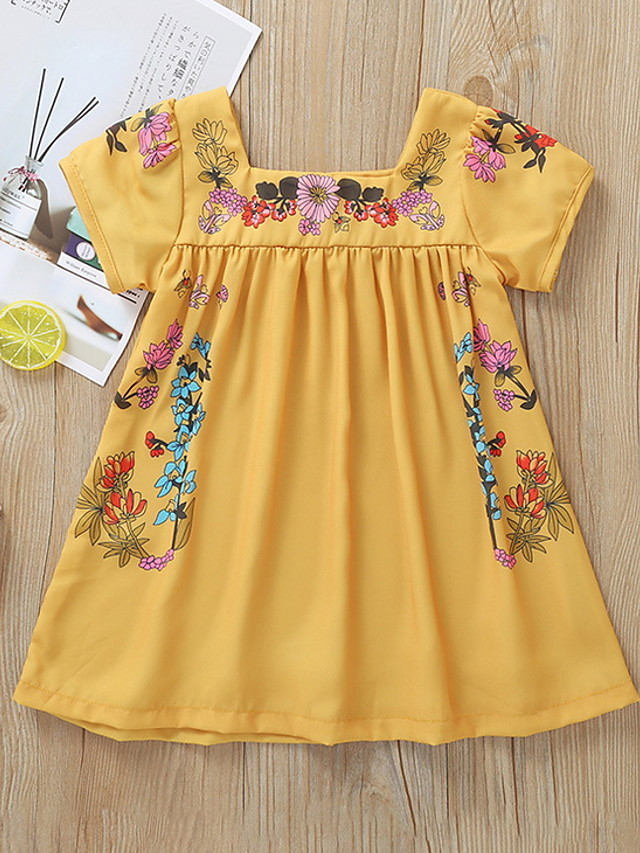 Kids Girls' Floral Short Sleeve Dress Yellow