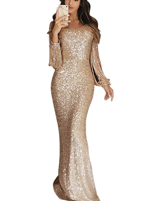 Mermaid / Trumpet Sparkle Gold Party Wear Formal Evening Dress V Neck Long Sleeve Floor Length Sequined Cotton Polyester with Sequin Tassel 2020