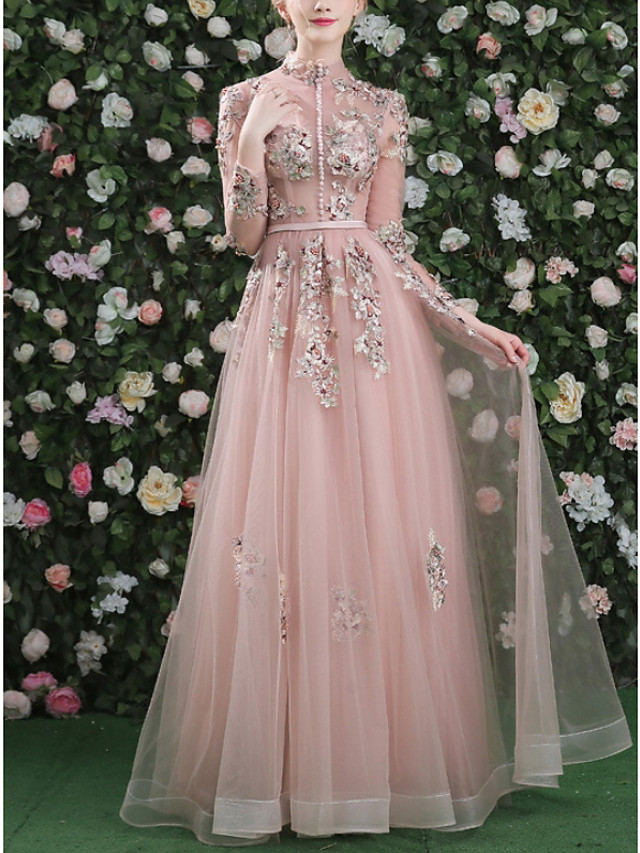 A-Line Vintage Pink Engagement Formal Evening Dress High Neck Long Sleeve Floor Length Tulle with Appliques 2020