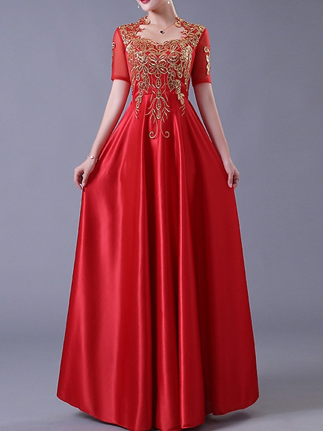 A-Line Elegant Red Wedding Guest Engagement Dress Queen Anne Short Sleeve Floor Length Polyester with Bow(s) Appliques 2020