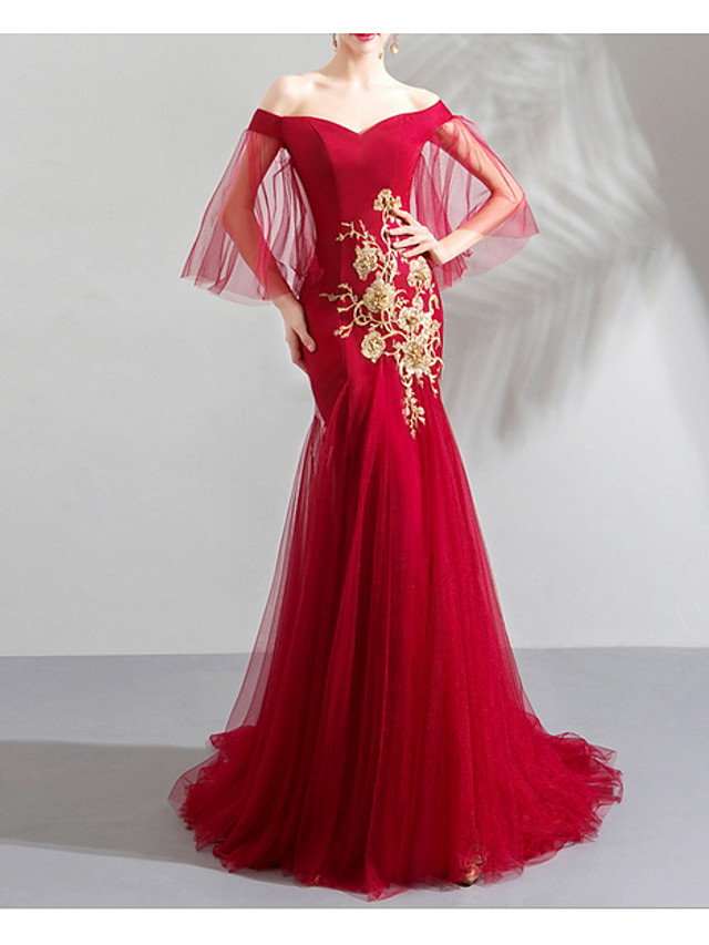 Mermaid / Trumpet Chinese Style Red Engagement Formal Evening Dress Off Shoulder Half Sleeve Sweep / Brush Train Tulle with Pleats Appliques 2020