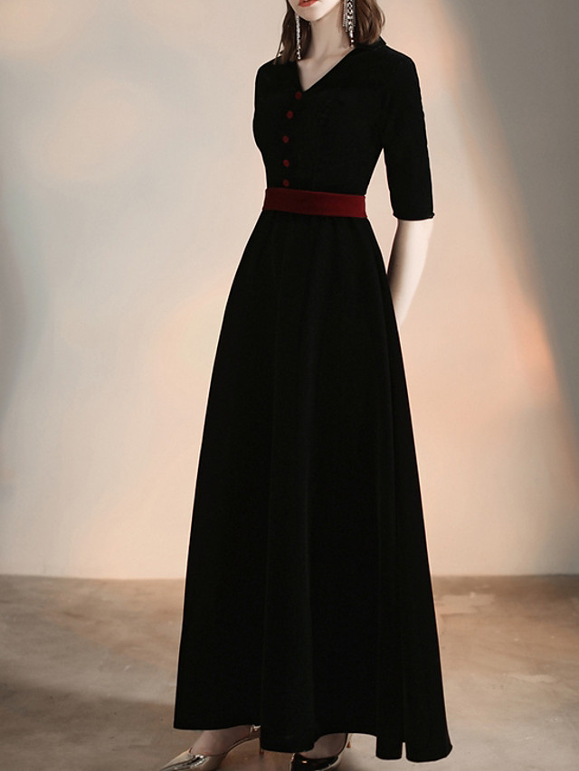 A-Line Minimalist Black Party Wear Formal Evening Dress V Neck Half Sleeve Floor Length Velvet Polyester with Buttons 2020