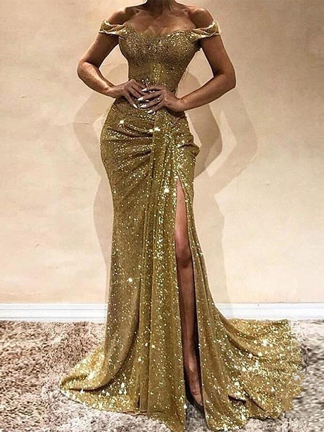 Mermaid / Trumpet Off Shoulder Sweep / Brush Train Sequined / Polyester Sexy / Gold Prom / Formal Evening Dress with Sequin / Split 2020