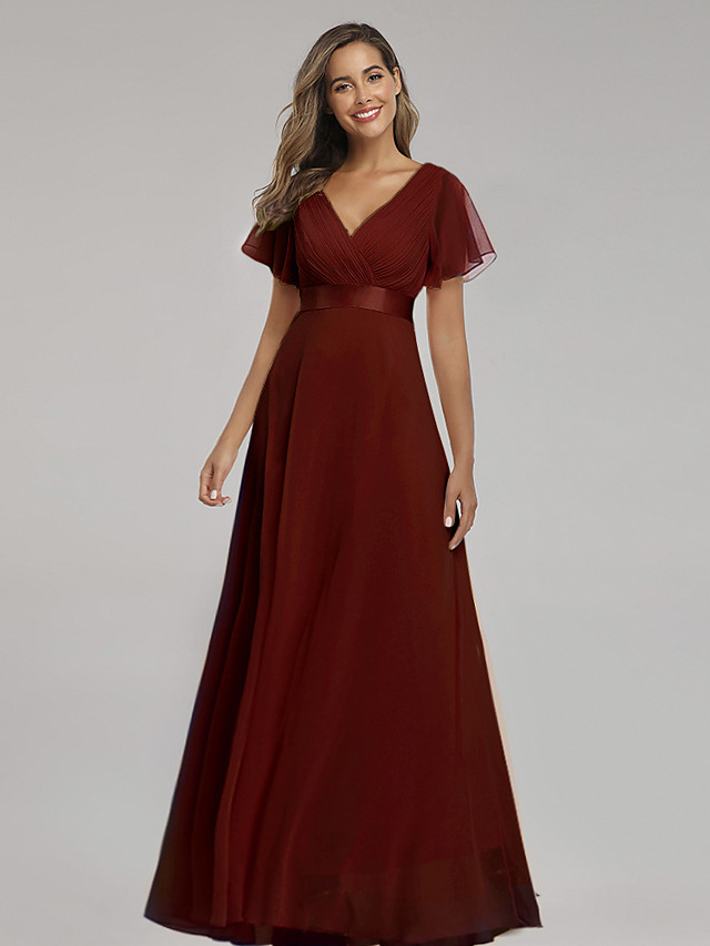 A-Line Elegant Empire Party Wear Formal Evening Dress V Neck Short Sleeve Floor Length Chiffon with Ruched Ruffles 2020