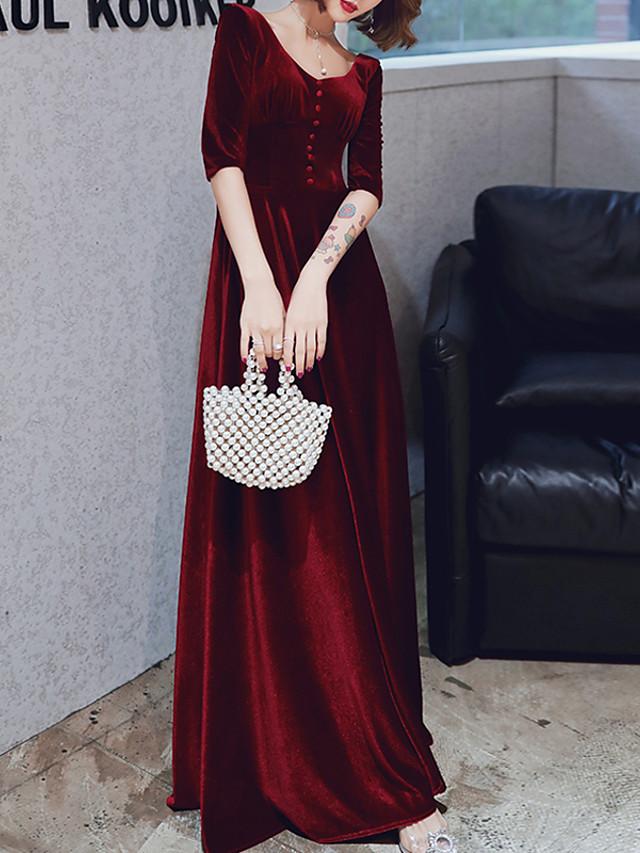 A-Line Minimalist Red Prom Formal Evening Dress V Neck Half Sleeve Floor Length Velvet with Buttons 2020