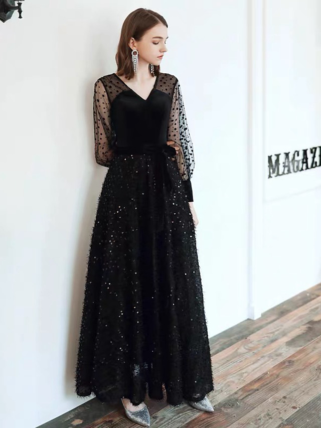 A-Line Glittering Black Party Wear Formal Evening Dress V Neck Long Sleeve Floor Length Lace Satin with Sequin Pattern / Print 2020