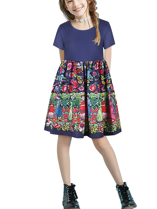 Kids Girls' Basic Cute Floral Patchwork Print Short Sleeve Above Knee Dress Navy Blue