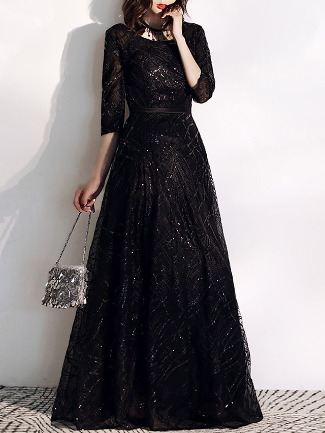 A-Line Glittering Black Prom Formal Evening Dress Jewel Neck Half Sleeve Floor Length Tulle Sequined with Sequin Embroidery 2020