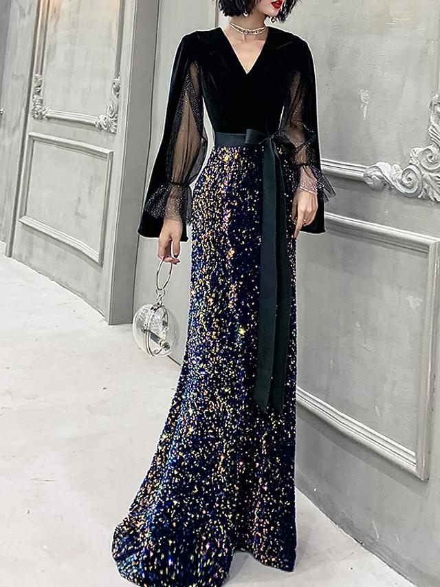 Mermaid / Trumpet Glittering Black Prom Formal Evening Dress V Neck Long Sleeve Floor Length Sequined Velvet with Sequin 2020