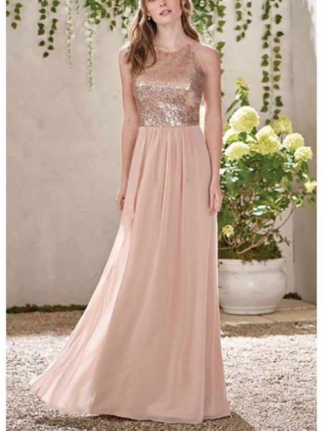 A-Line Halter Neck Floor Length Chiffon Bridesmaid Dress with Tier