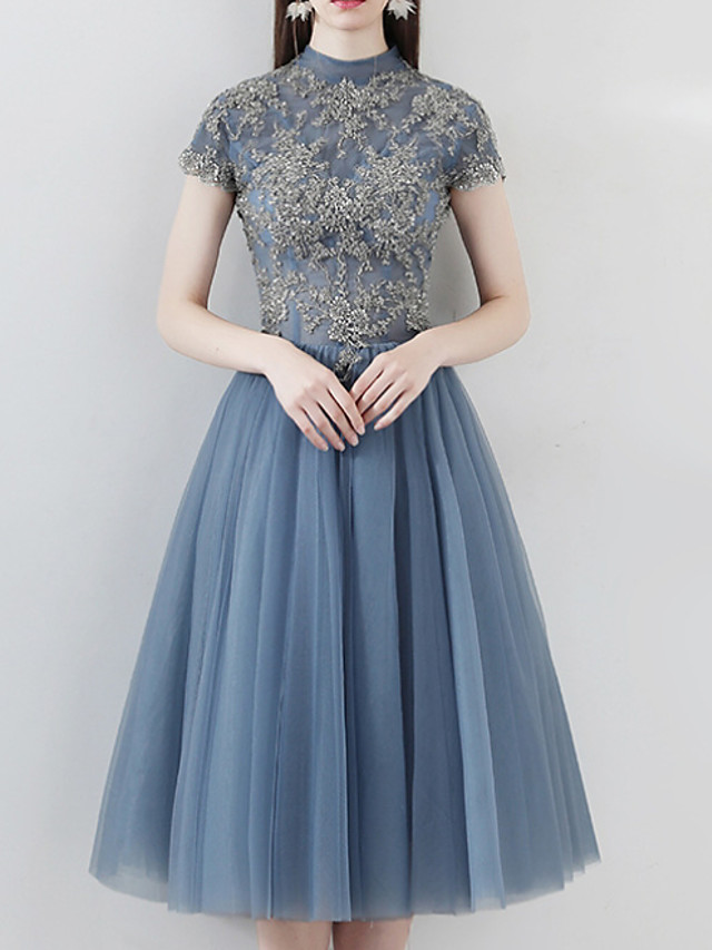 A-Line Luxurious Blue Homecoming Cocktail Party Dress High Neck Short Sleeve Knee Length Tulle with Pleats Appliques 2020