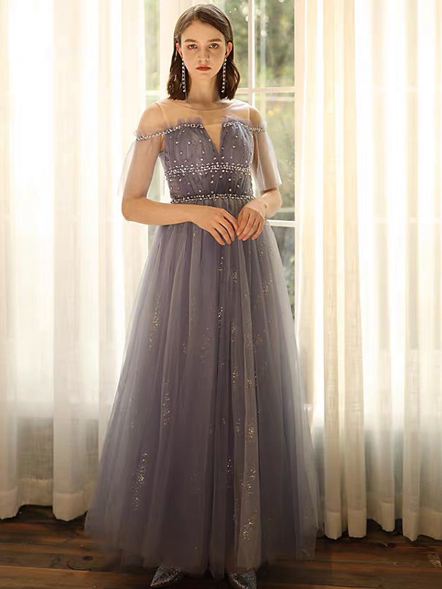 A-Line Glittering Blue Engagement Formal Evening Dress Illusion Neck Short Sleeve Floor Length Lace Satin Sequined with Beading Sequin 2020