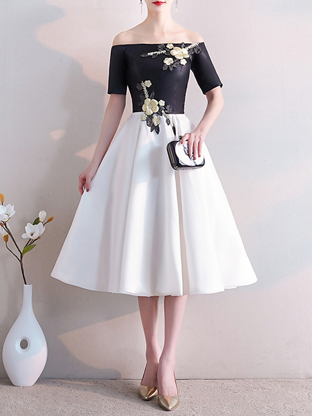 A-Line White Black Cocktail Party Prom Dress Off Shoulder Short Sleeve Knee Length Satin with Embroidery Appliques 2020