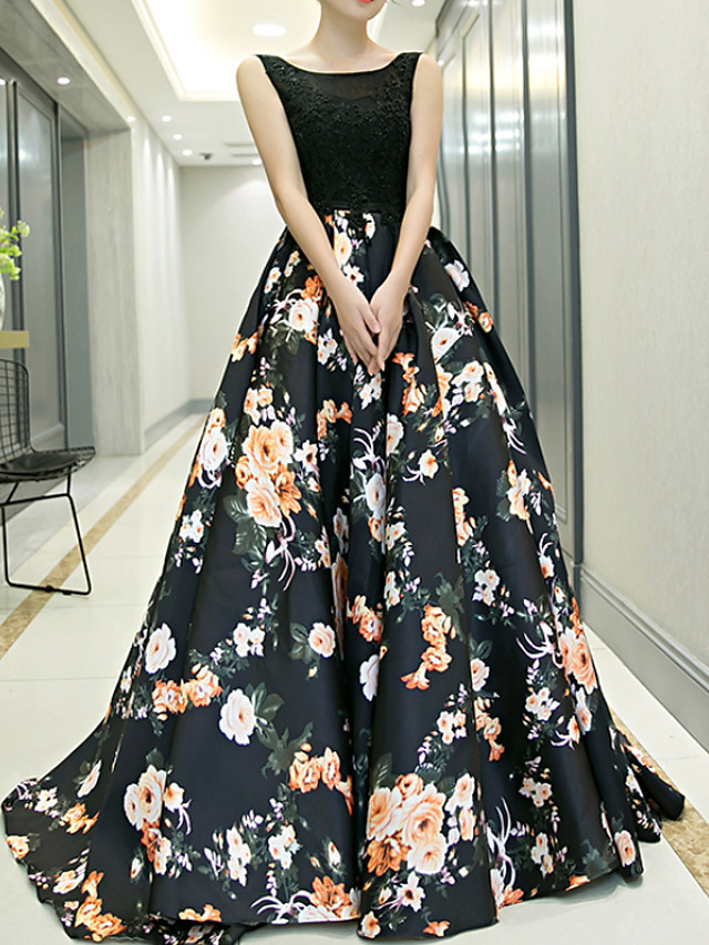 Ball Gown Floral Black Prom Formal Evening Dress Jewel Neck Sleeveless Sweep / Brush Train Polyester with Pattern / Print 2020