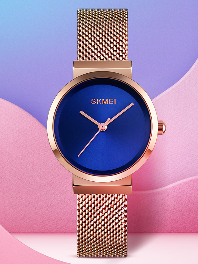 SKMEI Women's Quartz Watches Casual Fashion Black Silver Gold Stainless Steel Chinese Quartz Rose Gold Golden+Black Gold Water Resistant / Waterproof New Design Cool 30 m 1 pc Analog One Year Battery