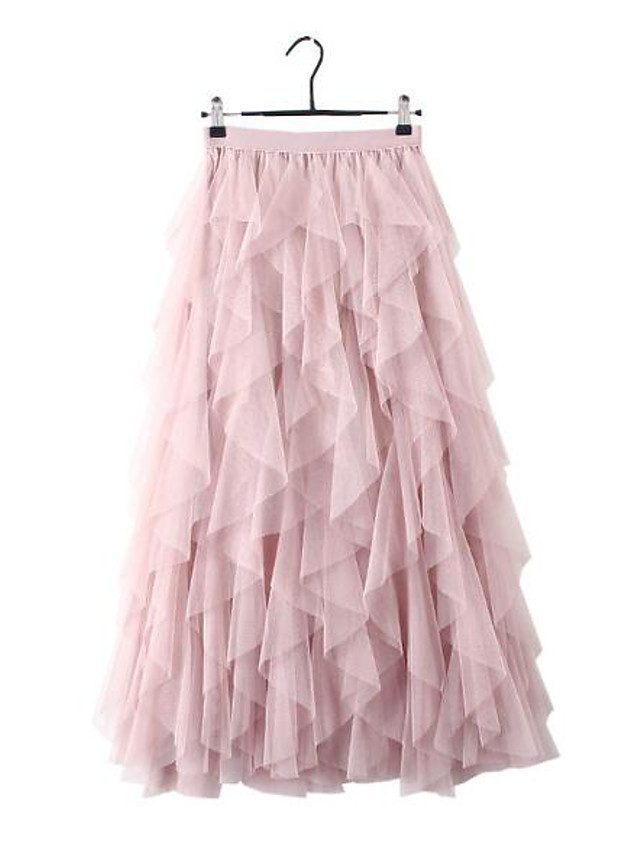 Women's Daily Wear Basic A Line Skirts - Solid Colored Tulle Blushing Pink Black Beige One-Size
