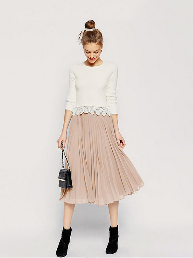 Women's Daily Wear Basic A Line Skirts - Solid Colored Black White Blushing Pink One-Size