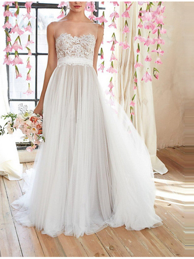 A-Line Empire White Engagement Prom Dress Illusion Neck Sleeveless Floor Length Polyester with Appliques 2020