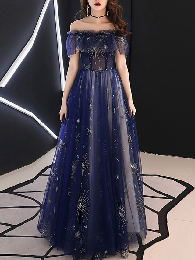 A-Line Sparkle Blue Prom Formal Evening Dress Off Shoulder Short Sleeve Floor Length Tulle with Beading Pattern / Print 2020
