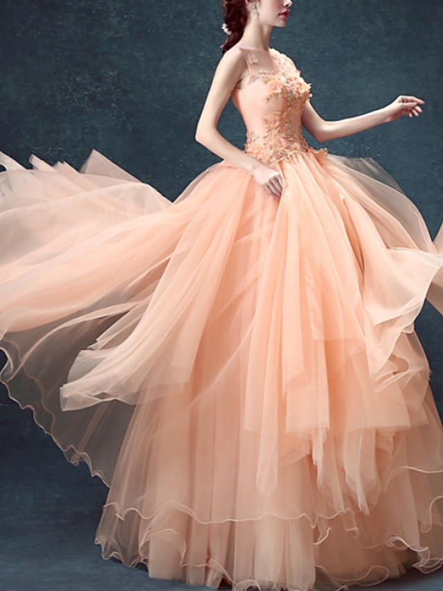 Ball Gown Floral Pink Prom Formal Evening Dress Illusion Neck Sleeveless Floor Length Tulle with Beading Appliques 2020
