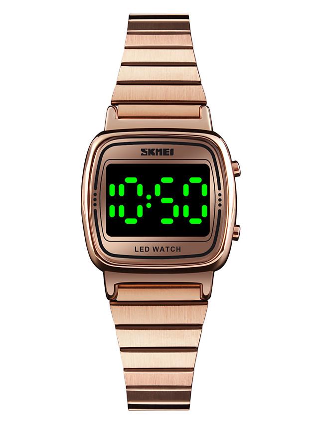 SKMEI Women's Digital Watch Digital Modern Style Stylish Casual Water Resistant / Waterproof Digital Rose Gold Golden+Black Black / One Year / Stainless Steel / Calendar / date / day / One Year