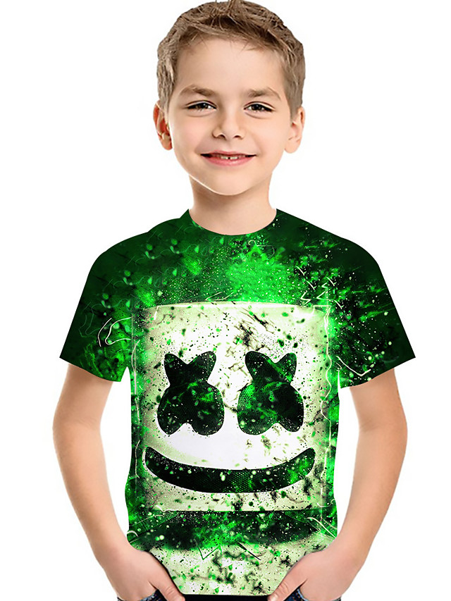 Kids Toddler Boys' Active Basic Rubik's Cube Geometric Color Block 3D Print Short Sleeve Tee Green