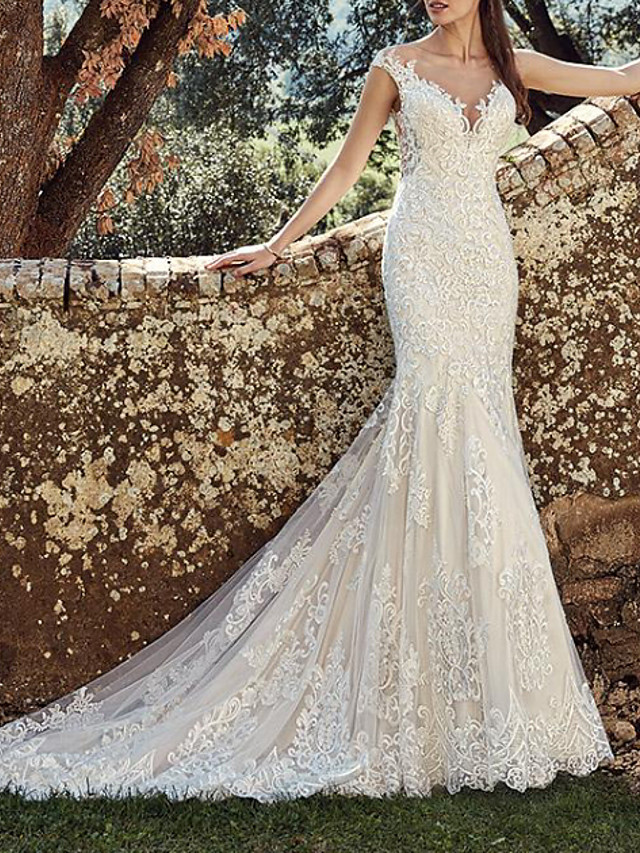 Mermaid / Trumpet Wedding Dresses Off Shoulder Court Train Lace Tulle Cap Sleeve Country Plus Size with Lace Buttons Embroidery 2020