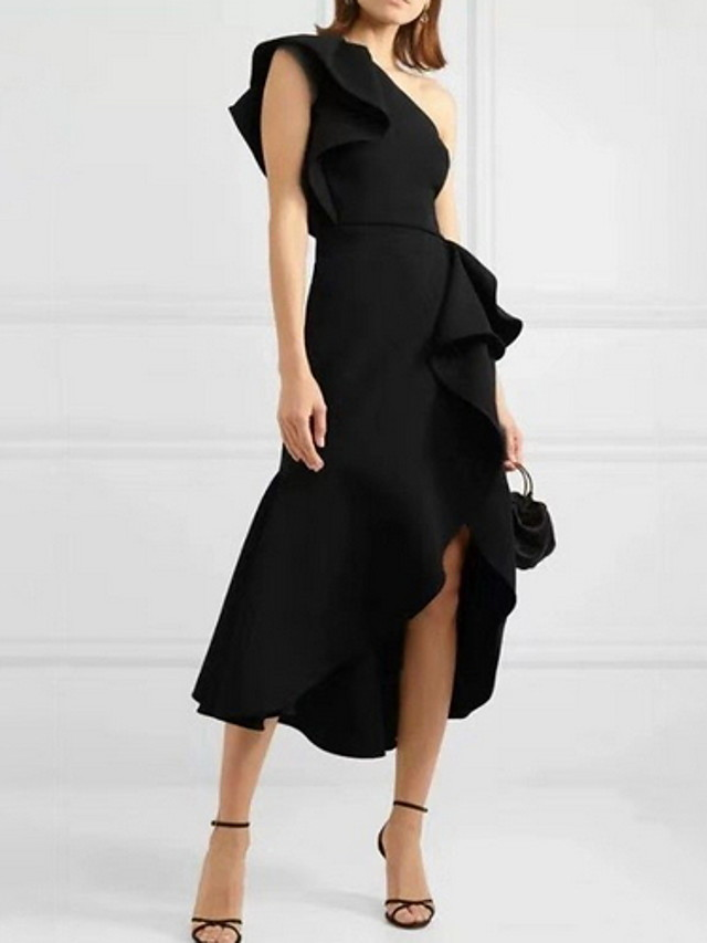 Sheath / Column Sexy Homecoming Cocktail Party Dress One Shoulder Sleeveless Asymmetrical Spandex with Ruffles Split 2020