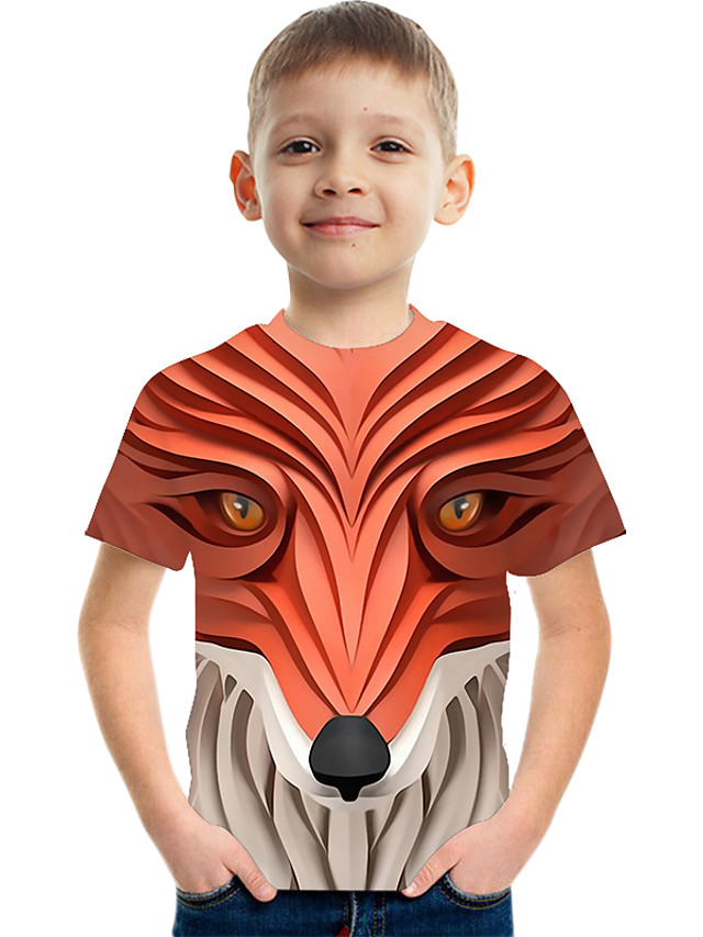 Kids Boys' Active Street chic Color Block 3D Print Short Sleeve Tee Red