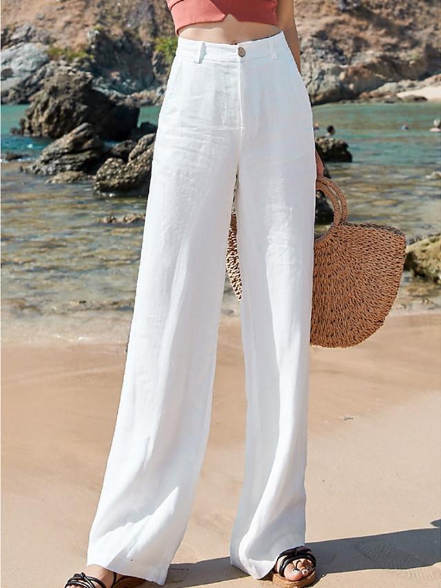 Mujer Basico Mezcla Lino Algodon Corte Ancho Casual Ropa Cotidiana Chinos Pantalones Un Color Blanco Negro Beige 7977935 2021 16 49