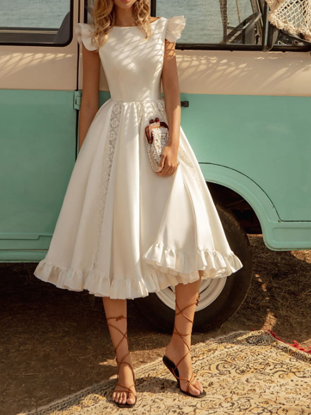 A-Line Wedding Dresses Off Shoulder Tea Length Lace Stretch Satin Jersey Short Sleeve Country Plus Size with Lace Insert Cascading Ruffles 2020