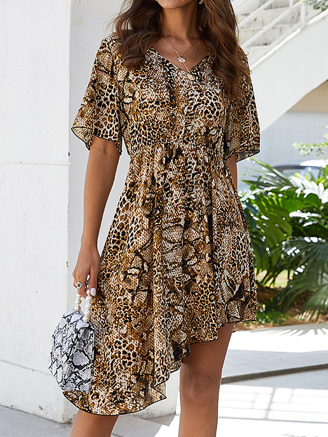 Women's Asymmetrical A Line Dress - Short Sleeves Print Color Block Patchwork V Neck Sexy Street chic Daily Going out Belt Not Included Brown S M L XL