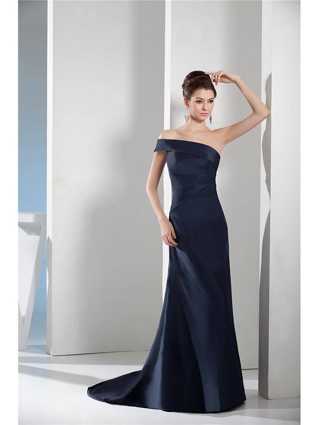 Sheath / Column Elegant Minimalist Engagement Formal Evening Dress One Shoulder Sleeveless Court Train Taffeta with Sleek 2020