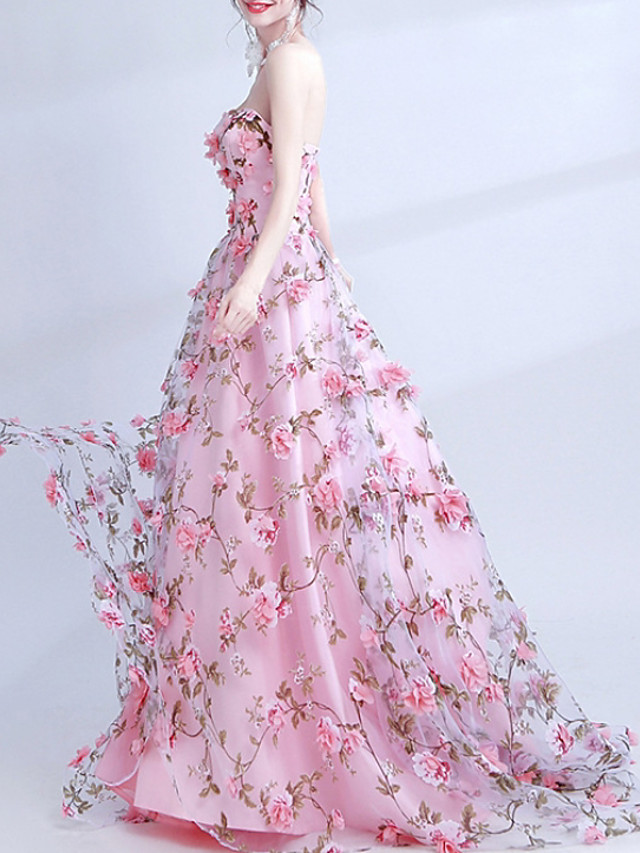 Ball Gown Floral Pink Engagement Formal Evening Dress Sweetheart Neckline Sleeveless Court Train Polyester with Appliques 2020
