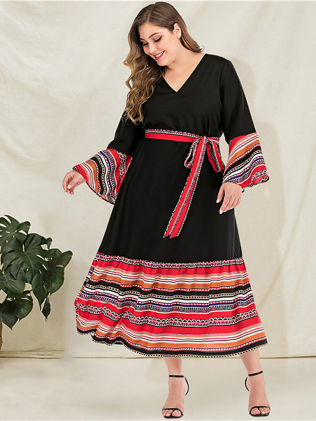 Women's Plus Size Maxi A Line Dress - Long Sleeve Striped Tie Dye Solid Color Patchwork Spring & Summer Fall & Winter V Neck Casual Boho Daily Going out Flare Cuff Sleeve Loose Black L XL XXL XXXL
