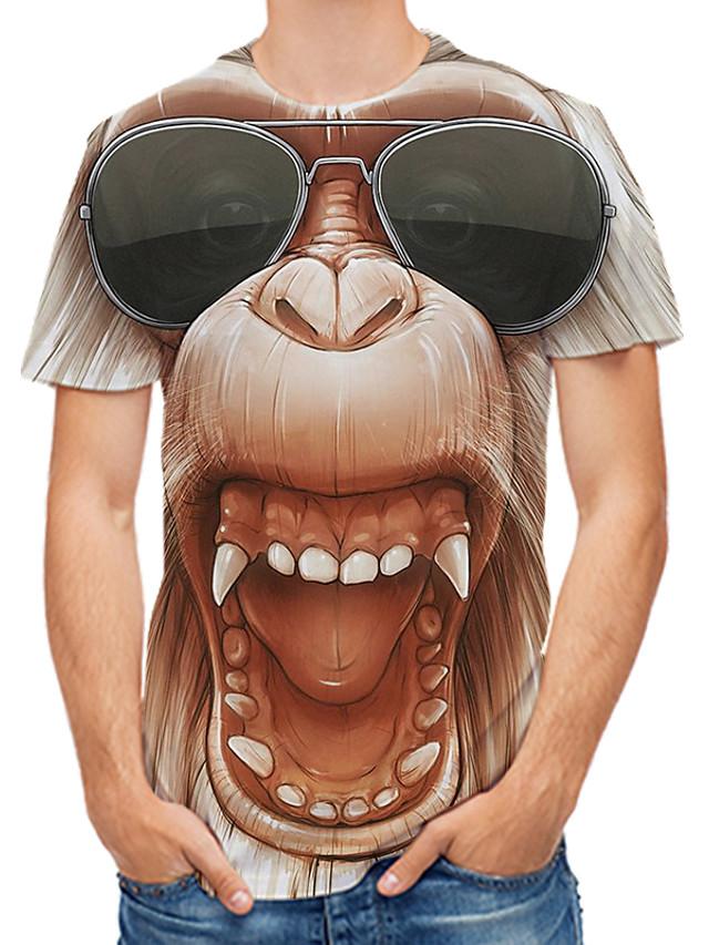 Men's Tees T shirt 3D Print Graphic 3D Orangutan Plus Size Print Short Sleeve Daily Tops Rock Streetwear Yellow Blushing Pink Brown