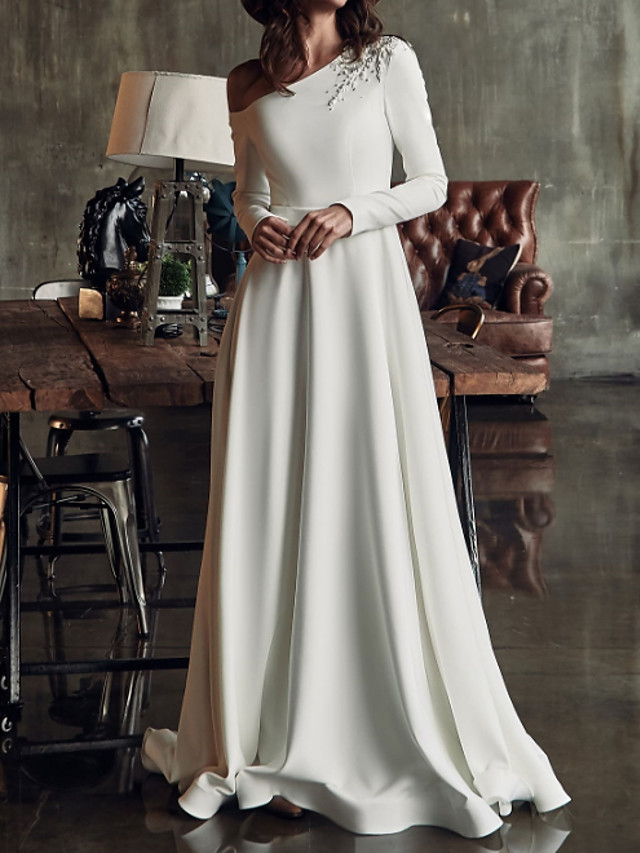 A-Line Wedding Dresses One Shoulder Sweep / Brush Train Stretch Satin Long Sleeve Country Plus Size with Crystals Split Front 2020