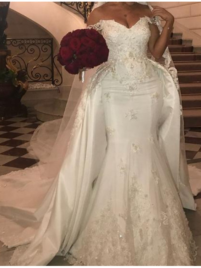 Mermaid / Trumpet Wedding Dresses Off Shoulder Court Train Polyester Cap Sleeve Country Plus Size with Lace Insert Appliques 2020
