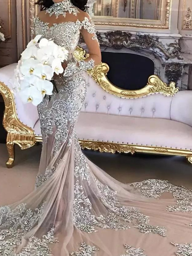 Mermaid / Trumpet Wedding Dresses High Neck Court Train Polyester Long Sleeve Formal Plus Size with Lace Insert Appliques 2020
