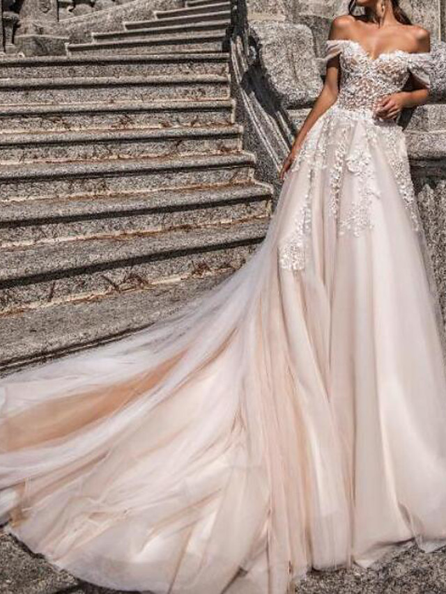 A-Line Wedding Dresses Off Shoulder Sweep / Brush Train Tulle Polyester Short Sleeve Country Plus Size with Pearls Embroidery 2020