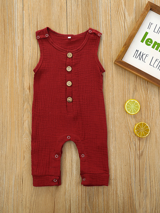 Baby Girls' Active Basic Solid Colored Sleeveless Romper Wine