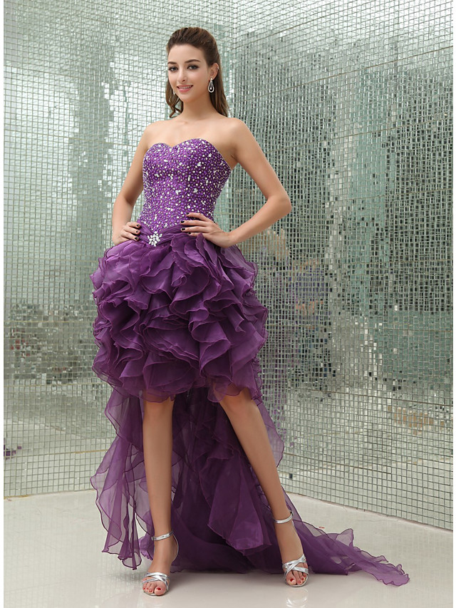 Ball Gown Luxurious Sparkle Wedding Guest Prom Dress Sweetheart Neckline Sleeveless Asymmetrical Organza with Beading 2020