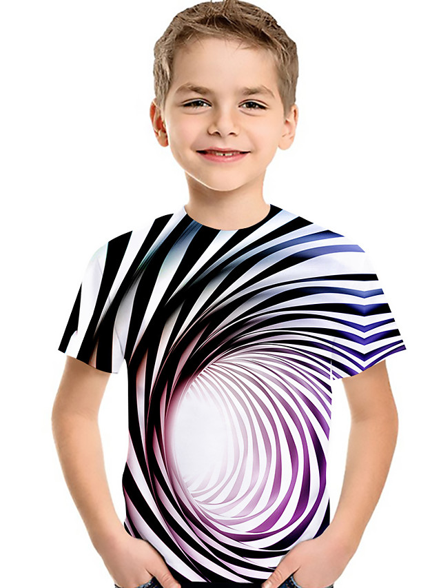 Kids Toddler Boys' Active Basic Blue & White Rubik's Cube Striped Geometric 3D Print Short Sleeve Tee Rainbow