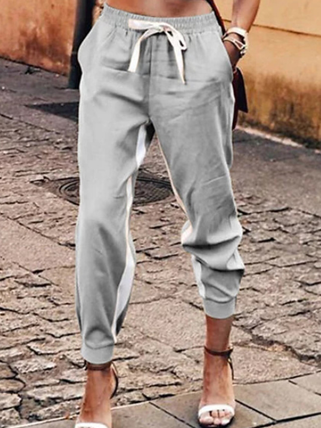 Women's Basic Loose Cotton Chinos Pants - Solid Colored Khaki Gray Light Blue S / M / L