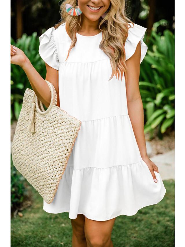 Women's A Line Dress - Short Sleeves Solid Color Wine White Black Purple S M L XL