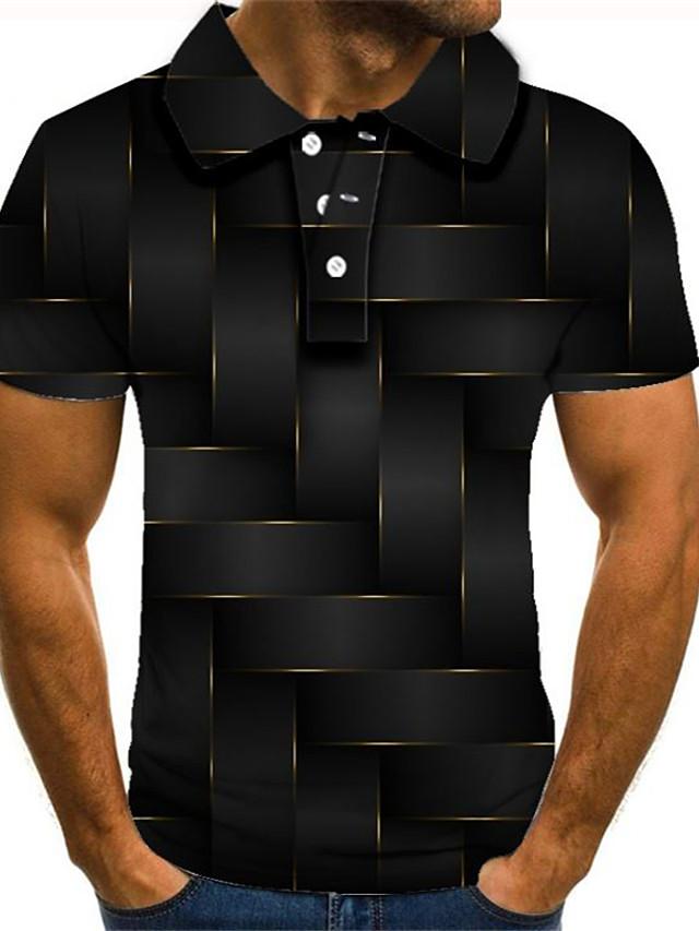 Men's Golf Shirt Graphic Plus Size Short Sleeve Daily Slim Tops Streetwear Exaggerated Shirt Collar Rainbow