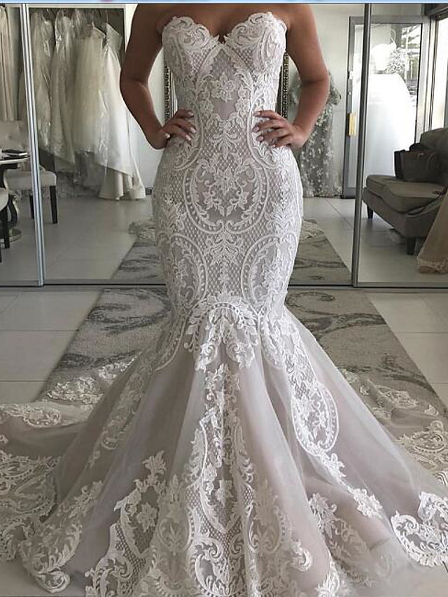 Mermaid / Trumpet Wedding Dresses Sweetheart Neckline Sweep / Brush Train Polyester Strapless Country Plus Size with Embroidery 2020
